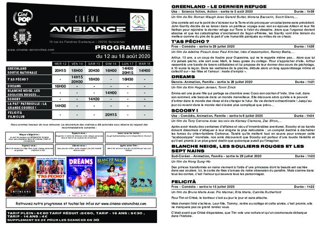Programme du 12 au 18 août