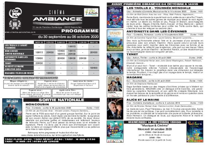 Programme du 30 septembre au 06 octobre 2020