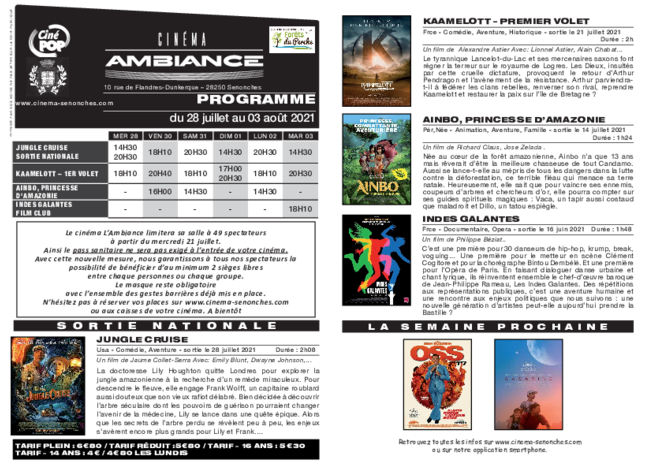 Programme du 28 juillet au 03 août