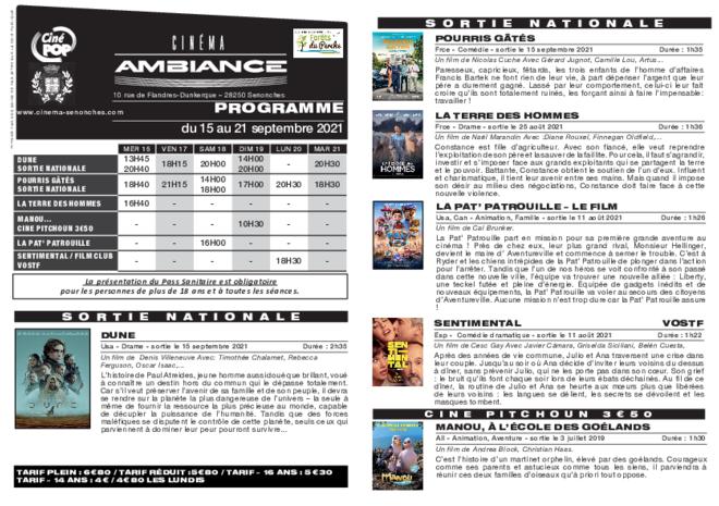 Programme du 15 au 21 septembre
