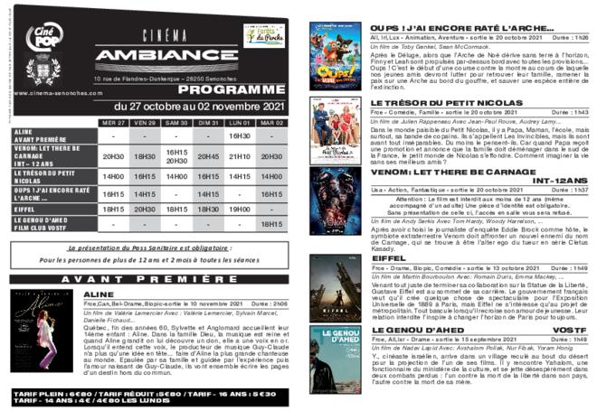 Programme du 27 octobre au 02 novembre
