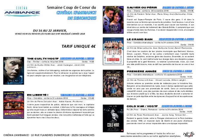 SEMAINE COUP DE COEUR Du 16 au 22 janvier
