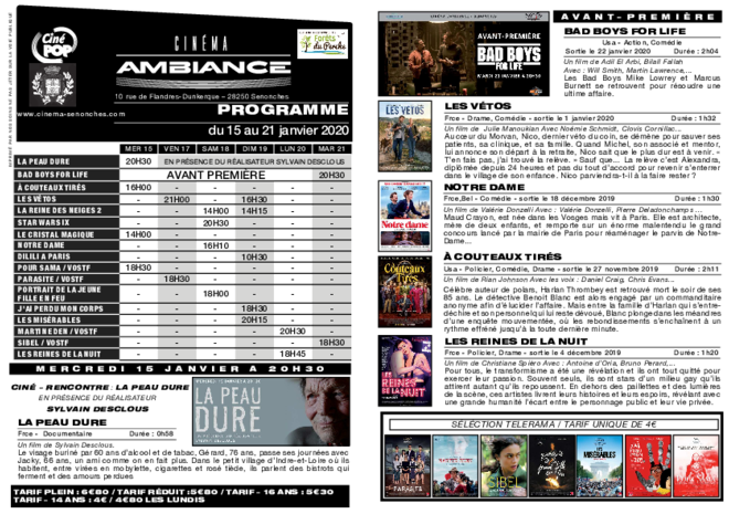 Programme du 16 au 22 janvier