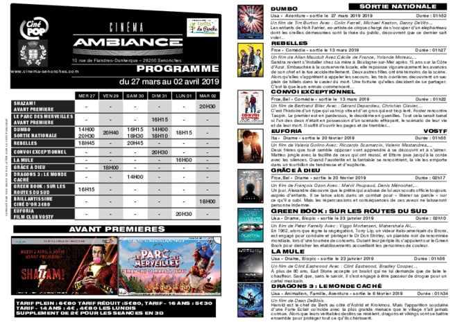 Programme du 27 au 02 avril