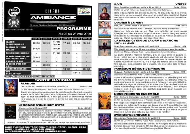 Programme du 22 au 28 mai