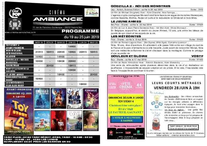 Programme du 19 au 25 juin