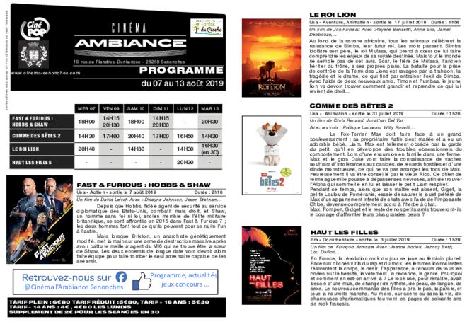 Programme du 07 au 13 août