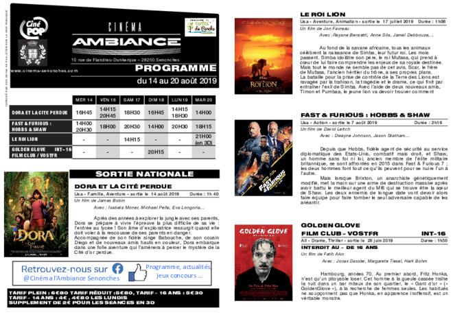 Programme du 15 au 21 août