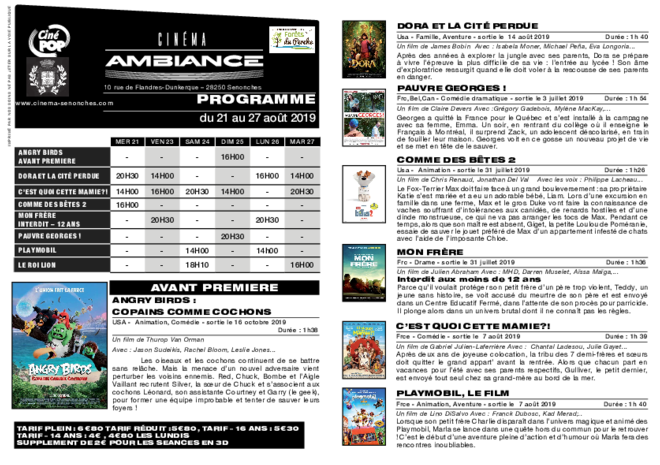Programme du 21 au 27 août