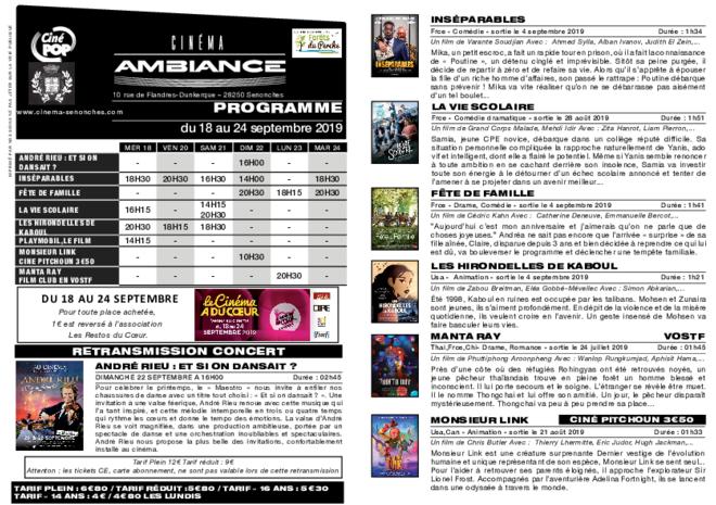 Programme du 18 au 24 septembre