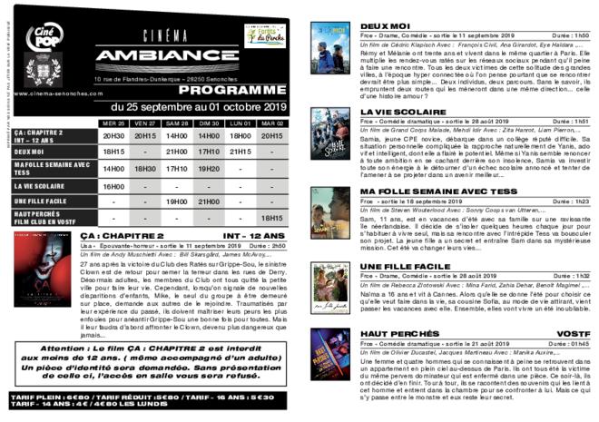 Programme du 26 septembre au 02 octobre